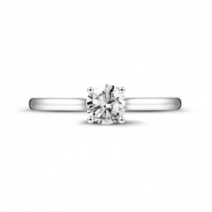 0.50 carat solitaire ring in platinum with round diamond and four prongs