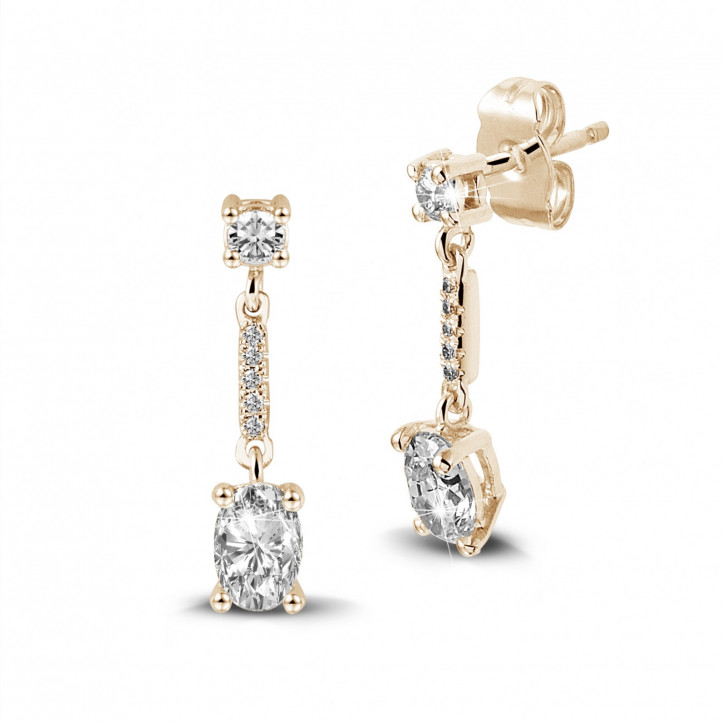 1.04 carat earrings in red gold with oval diamonds