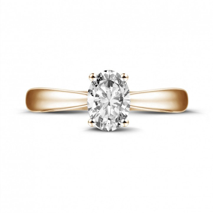 0.58 carat solitaire ring in red gold with oval diamond