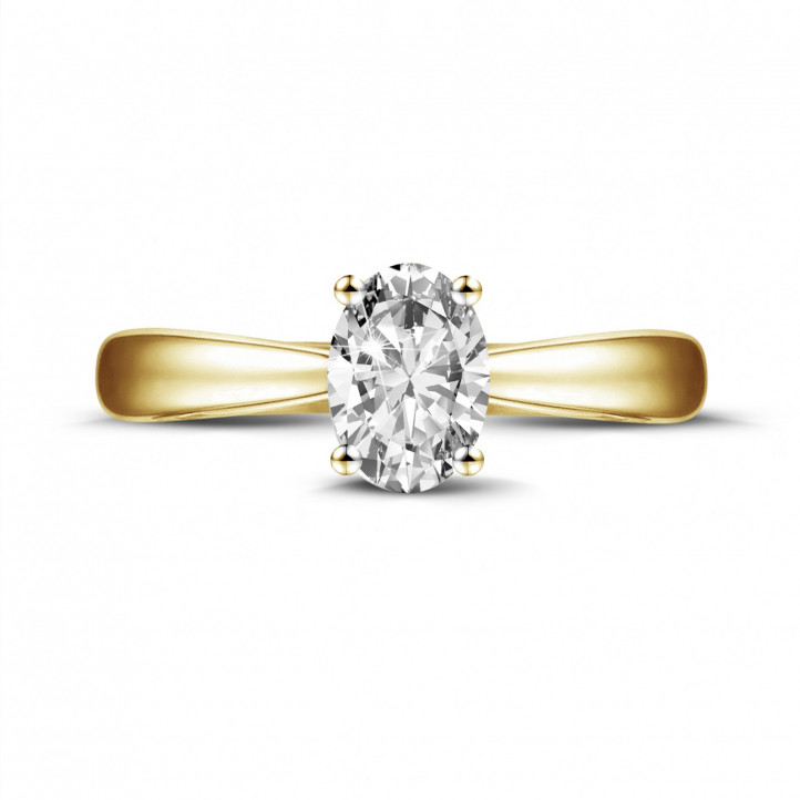 0.58 carat solitaire ring in yellow gold with oval diamond
