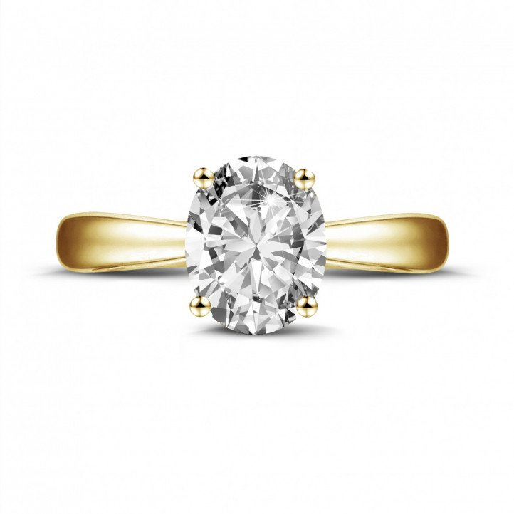 1.90 carat solitaire ring in yellow gold with oval diamond