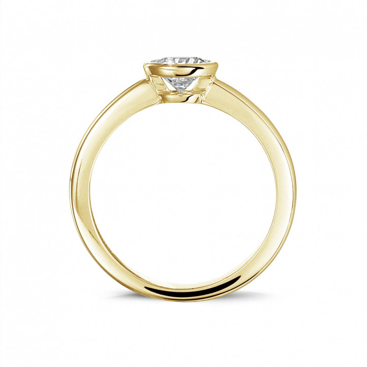 0.50 carat solitaire ring in yellow gold with round diamond