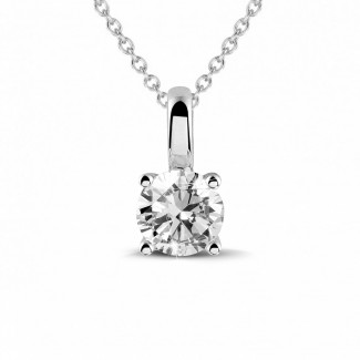Necklaces - 0.50 carat solitaire pendant in white gold with round diamond and four prongs