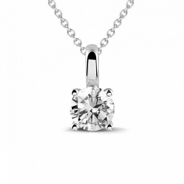 0.50 carat solitaire pendant in white gold with round diamond and four prongs