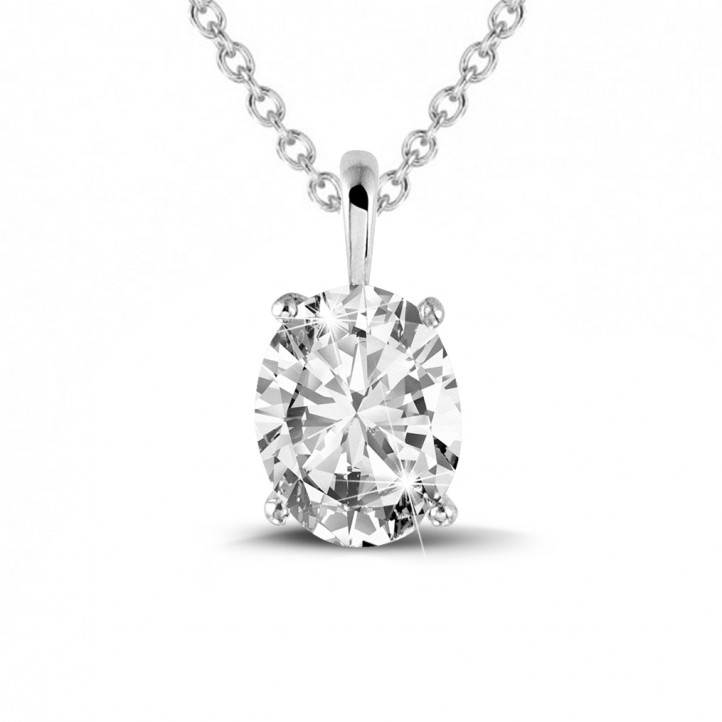 1.90 carat solitaire pendant in platinum with oval diamond