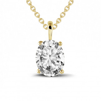 Necklaces - 1.90 carat solitaire pendant in yellow gold with oval diamond