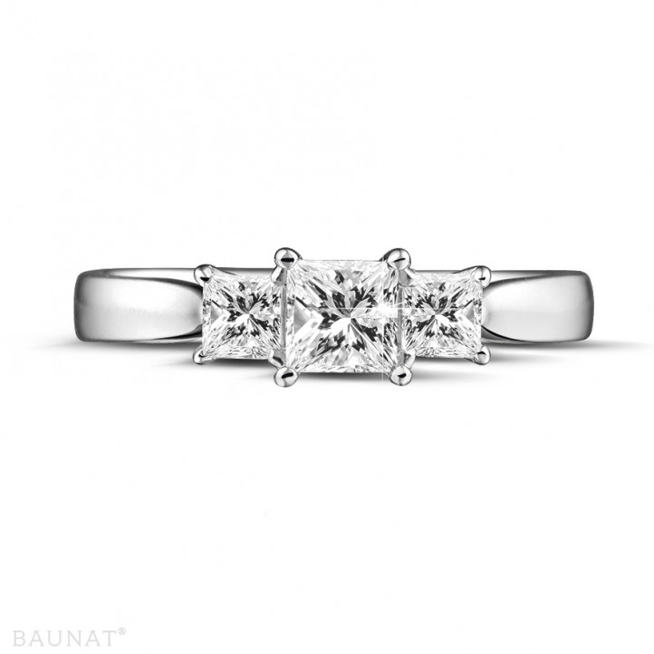 0.70 carat trilogy ring in white gold with princess diamonds