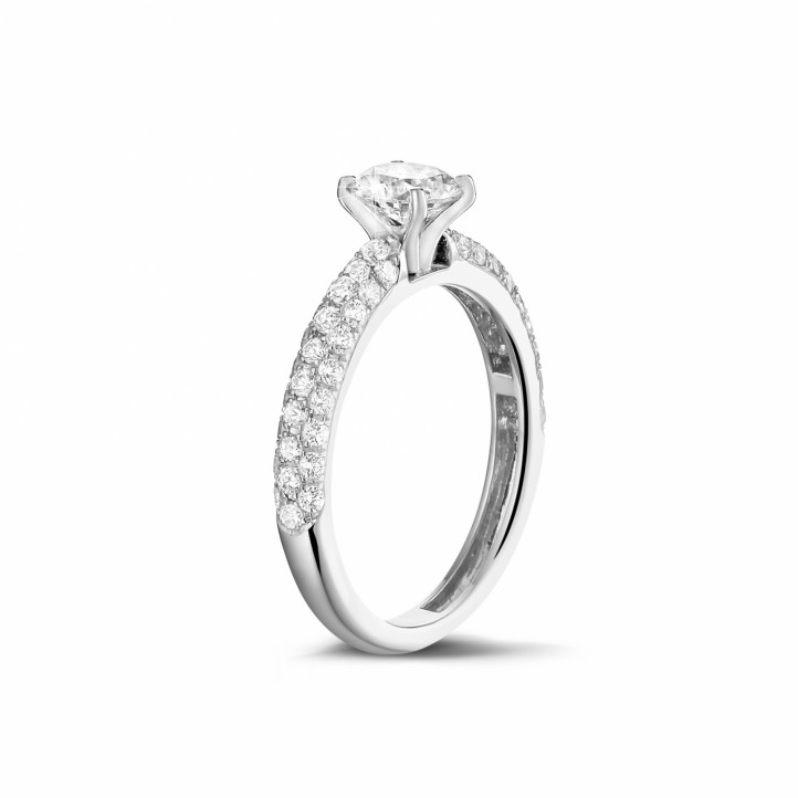 0.90 carat solitaire ring (half set) in platinum with side diamonds