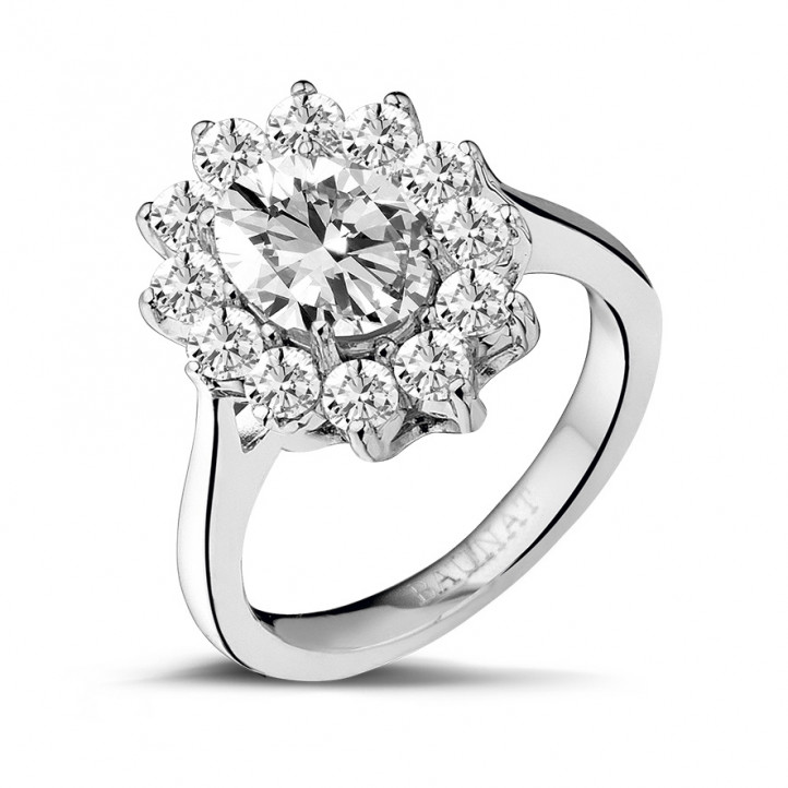 2.85 carat entourage ring in white gold with oval diamond