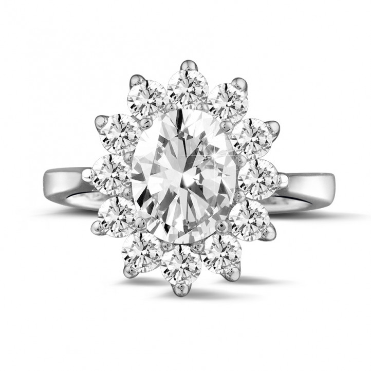2.84 carat entourage ring in white gold with oval diamond
