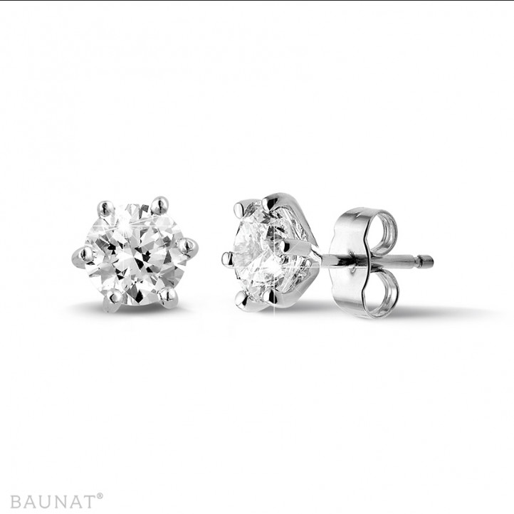 2.00 carat classic diamond earrings in white gold with six prongs