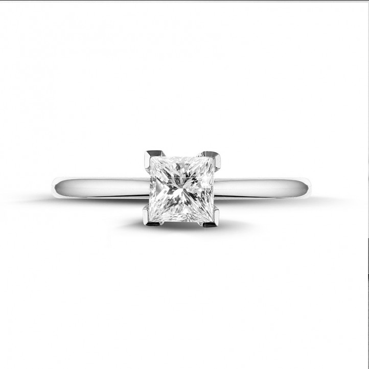 0.75 carat solitaire ring in white gold with princess diamond