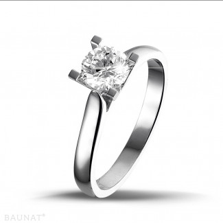 0.75 carat solitaire diamond ring in white gold