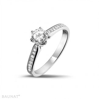 0.50 carat solitaire diamond ring in white gold with side diamonds