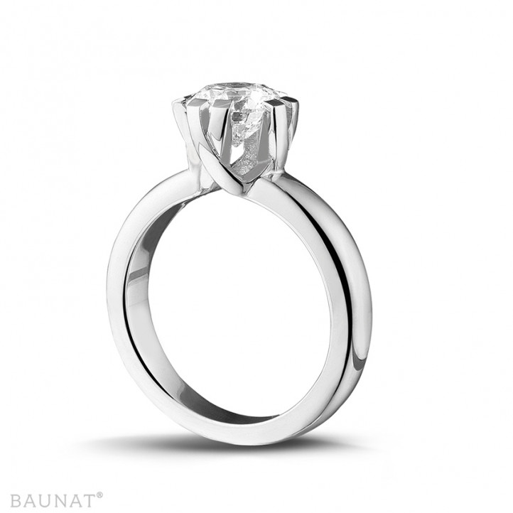 1.50 carat solitaire diamond design ring in platinum with eight prongs