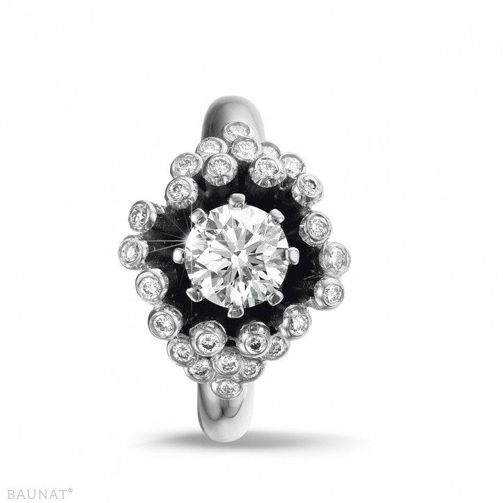 0.90 carat diamond design ring in white gold