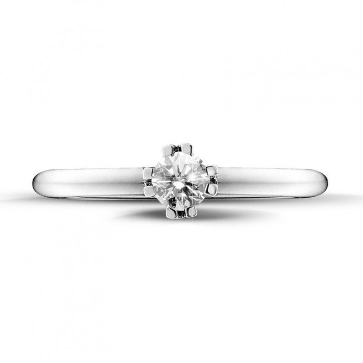 0.25 carat solitaire diamond design ring in platinum with eight prongs