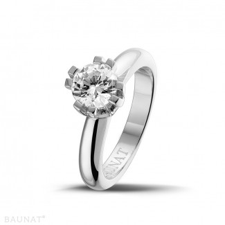 - 1.25 carat solitaire diamond design ring in platinum with eight prongs