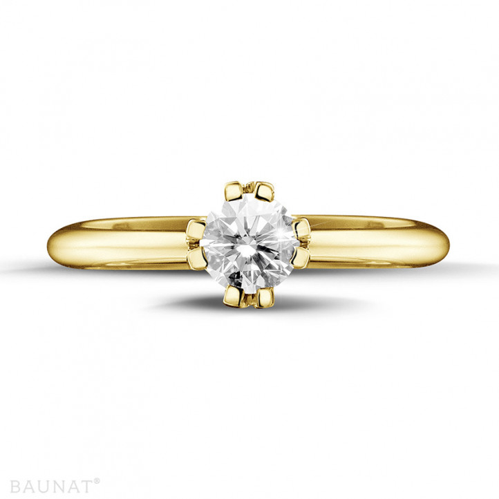0.50 carat solitaire diamond design ring in yellow gold with eight prongs
