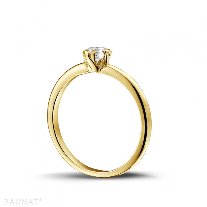 0.25 carat solitaire diamond design ring in yellow gold with eight prongs