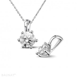 White Gold Diamond Necklaces - 1.00 carat white golden solitaire pendant with round diamond