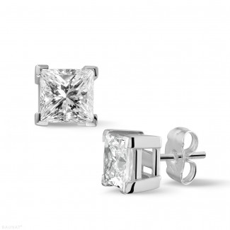 2.50 carat diamond princess earrings in white gold
