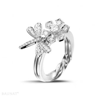 White Gold Diamond Rings - 0.55 carat diamond flower & dragonfly design ring in white gold