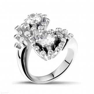 White Gold Diamond Engagement Rings - 1.50 carat diamond Toi et Moi design ring in white gold