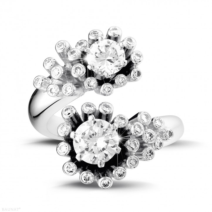 1.50 carat diamond Toi et Moi design ring in white gold