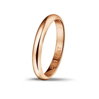 Men's ring with a domed surface of 3.00 mm in red gold