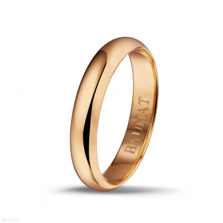 Men's ring with a domed surface of 4.00 mm in red gold
