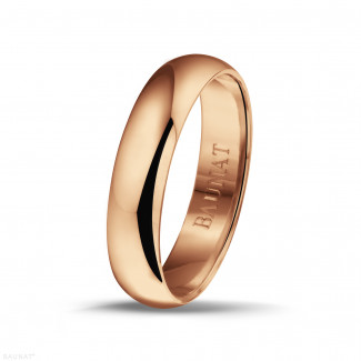 Men's ring with a domed surface of 5.00 mm in red gold