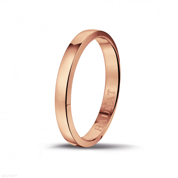 Men's ring with a slightly domed surface of 3.00 mm in red gold