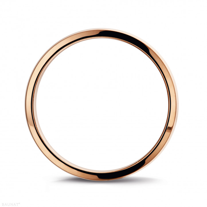 Men's ring with a slightly domed surface of 5.00 mm in red gold