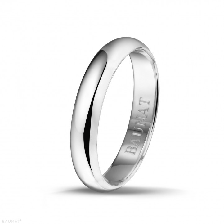 Men's ring with a domed surface of 4.00 mm in white gold