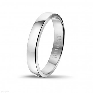 White Gold Diamond Rings - Men's ring with a slightly domed surface of 4.00 mm in white gold