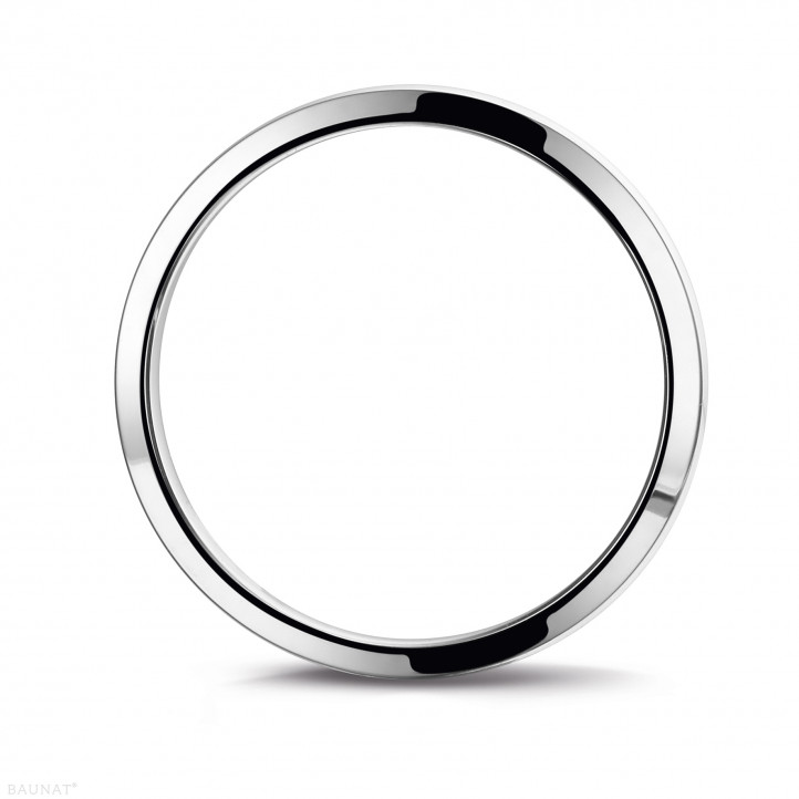 Men's ring with a slightly domed surface of 4.00 mm in white gold