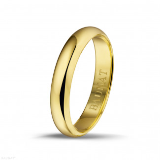 Yellow Gold Diamond Rings - Men's ring with a domed surface of 4.00 mm in yellow gold