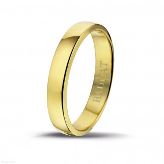 Yellow Gold Diamond Rings - Men's ring with a slightly domed surface of 4.00 mm in yellow gold