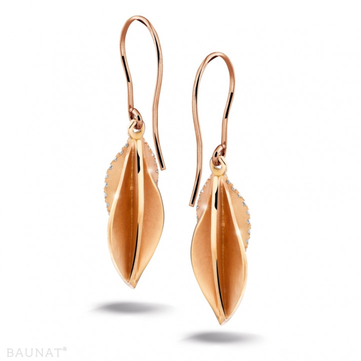 0.45 carat diamond design earrings in red gold