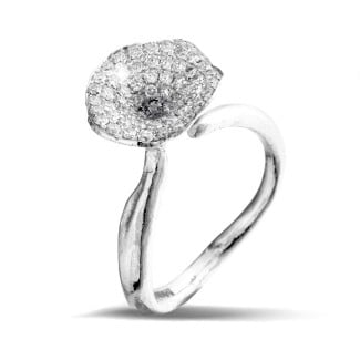 White Gold Diamond Rings - 0.54 carat diamond design ring in white gold