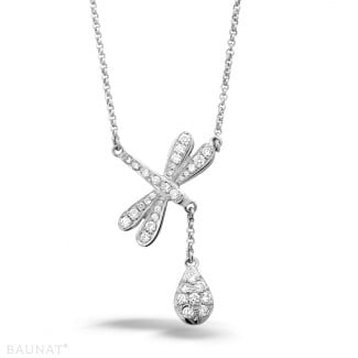 White Gold Diamond Necklaces - 0.36 carat diamond dragonfly necklace in white gold