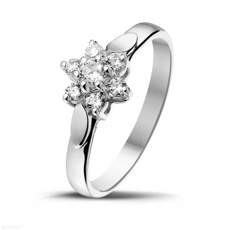 White Gold Diamond Rings - 0.30 carat diamond flower ring in white gold