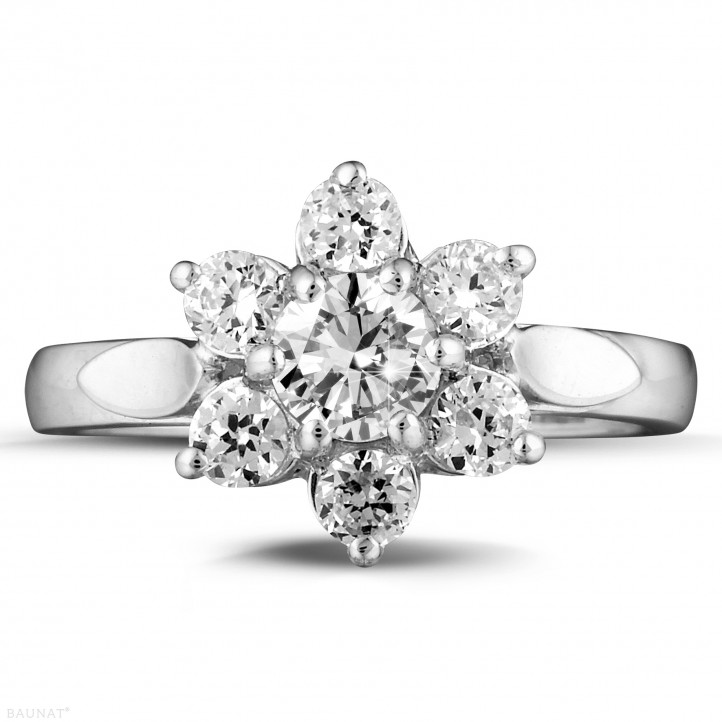 1.15 carat diamond flower ring in white gold