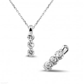 Necklaces - 0.50 carat trilogy diamond pendant in white gold