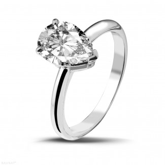 White Gold Diamond Engagement Rings - 2.00 carat solitaire ring in white gold with pear shaped diamond