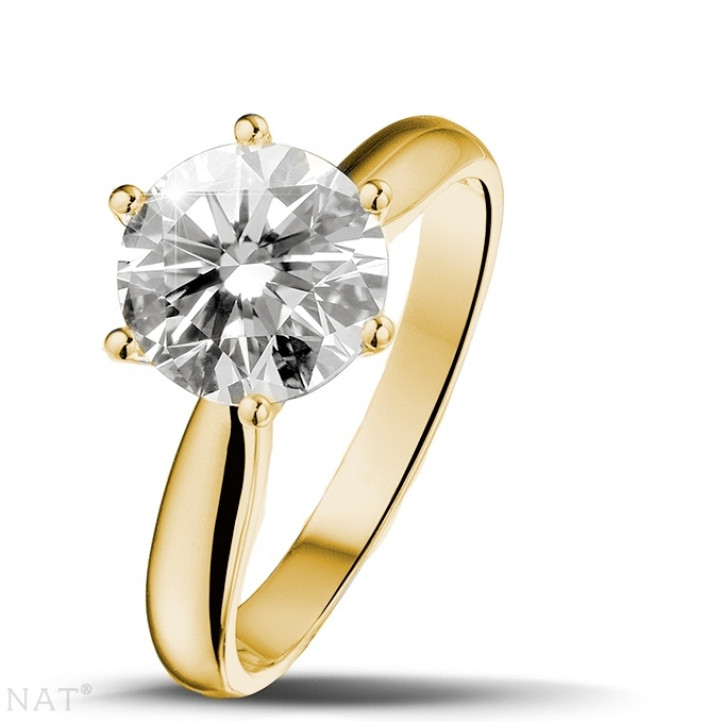 2.00 carat solitaire diamond ring in yellow gold