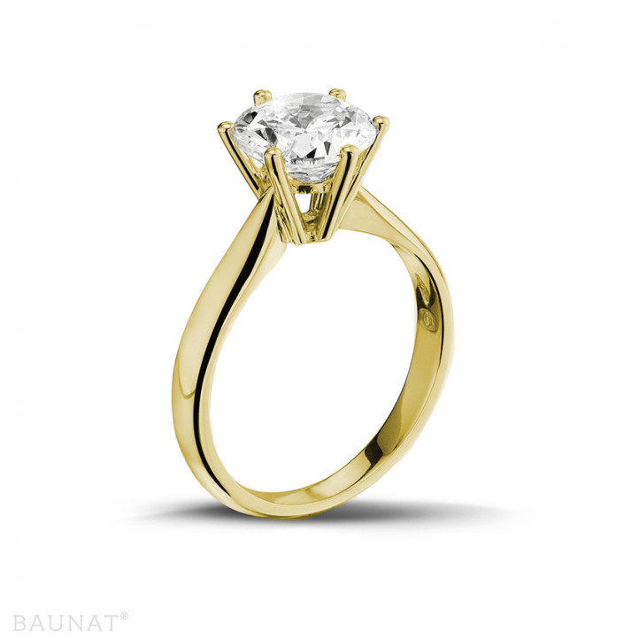Yellow Gold Diamond Engagement Rings 2 00 carat BAUNAT