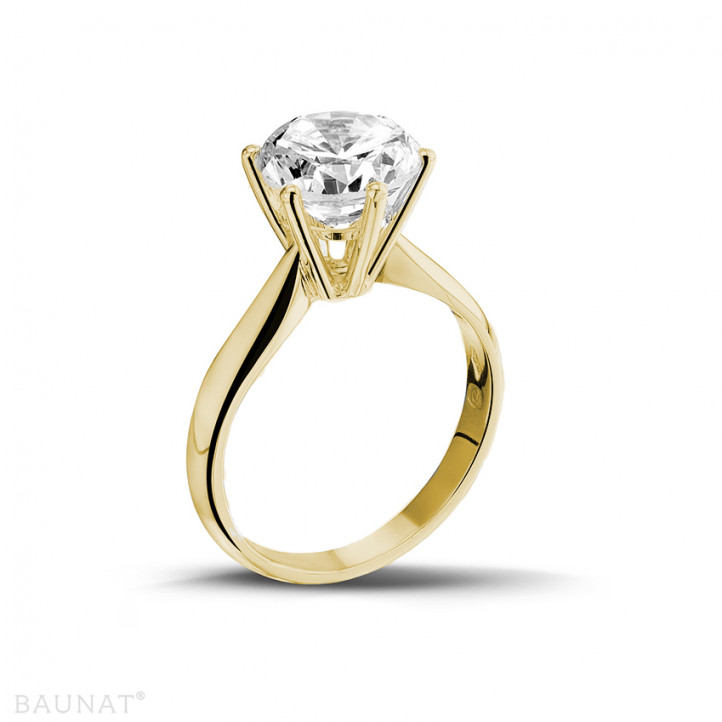 3.00 carat solitaire diamond ring in yellow gold