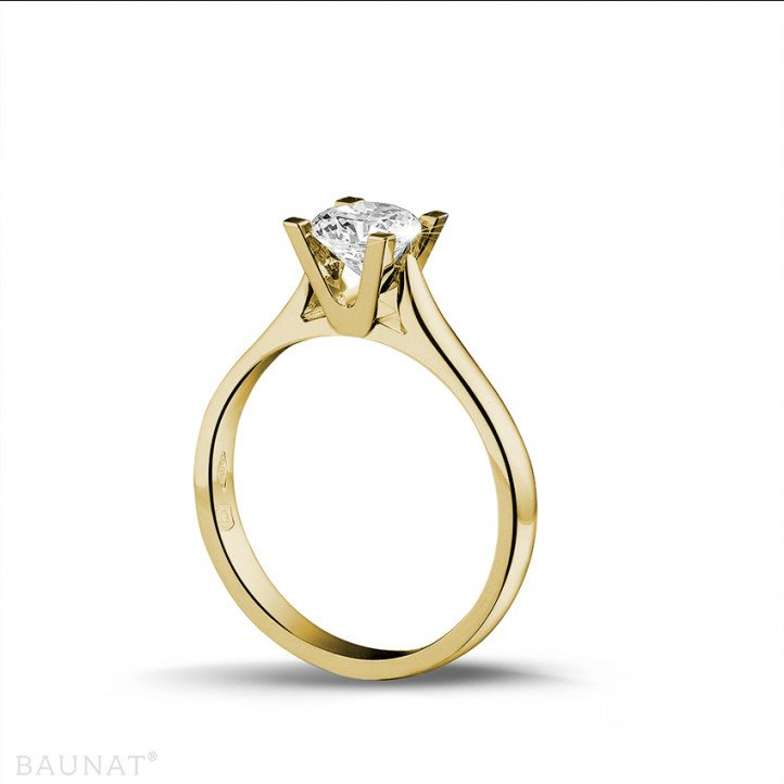0.75 carat solitaire diamond ring in yellow gold